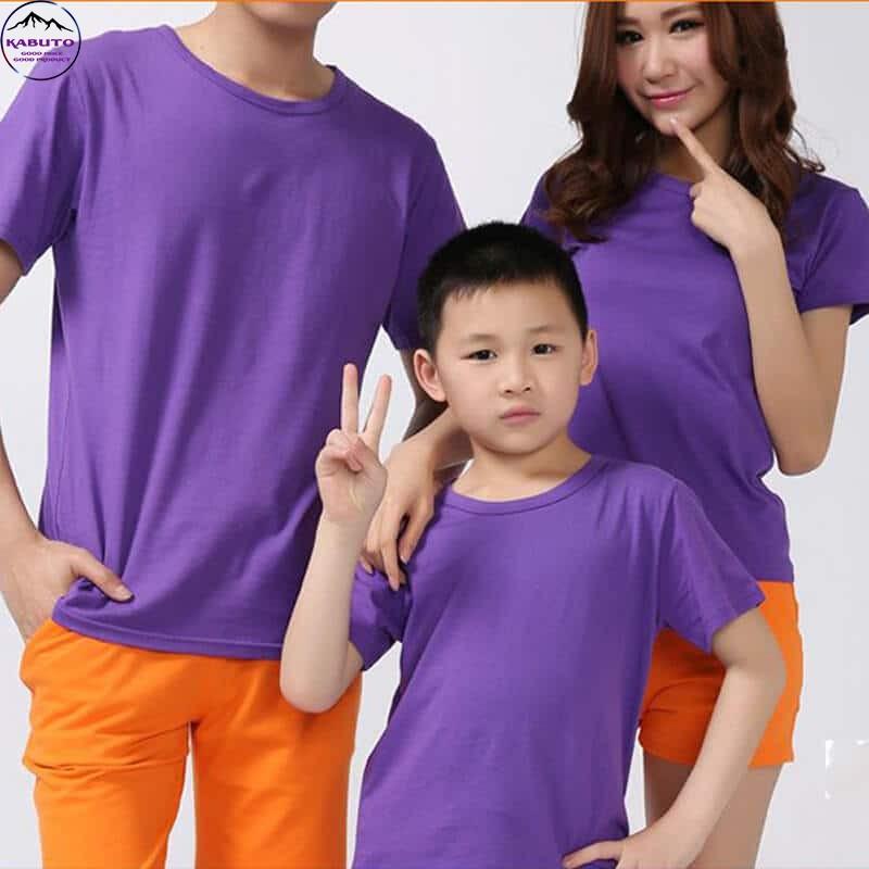 Áo thun trơn gia đình màu tím