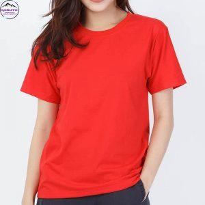 Áo thun trơn màu đỏ cho nữ