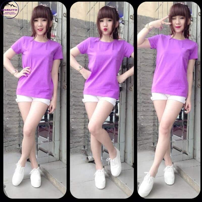 Áo thun nữ trơn màu tím