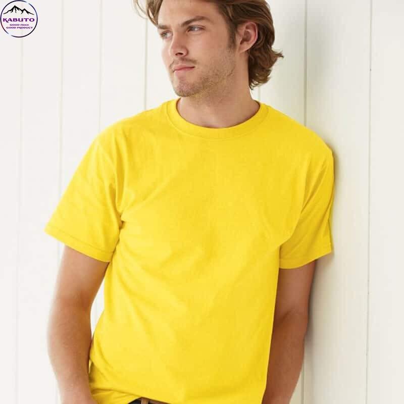 Áo thun trơn màu vàng cho nam