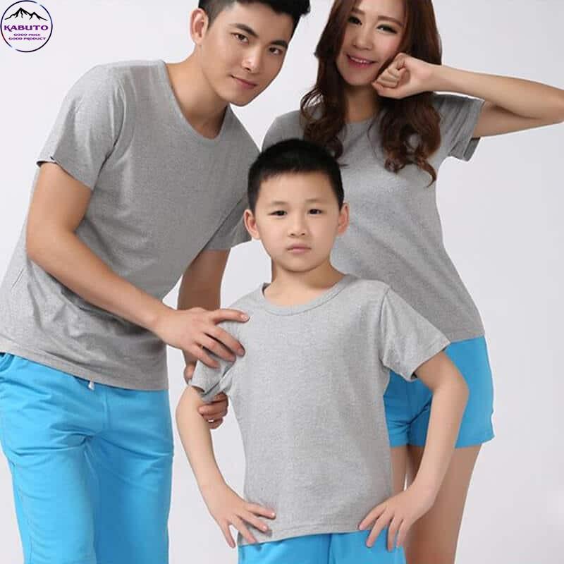Áo thun trơn màu xám cho gia đình
