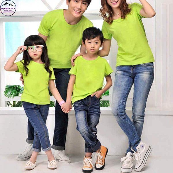 Áo thun xanh trơn Kabuto gia đình