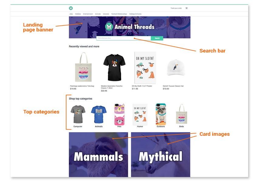 Giao diện marketplace của Teechip