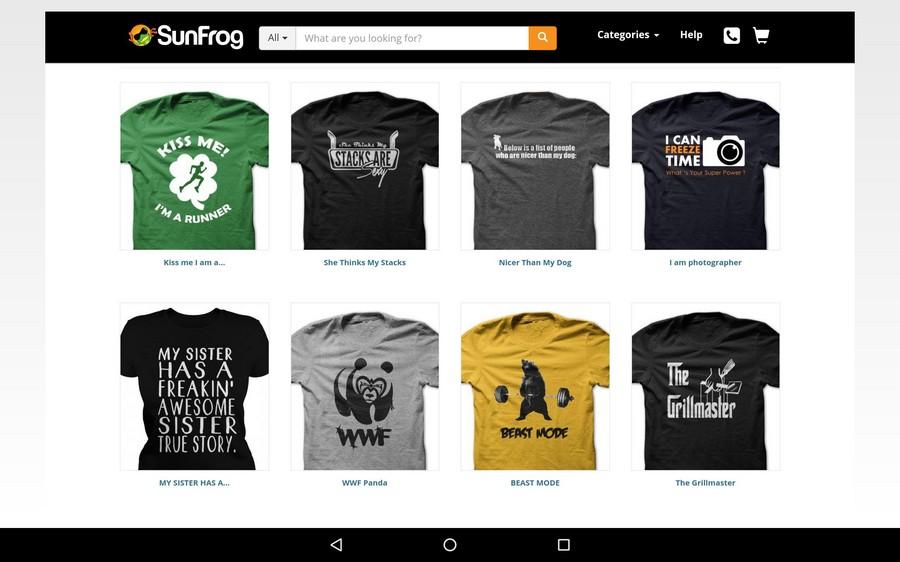 giao diện nền tảng kinh doanh áo phông trực tuyến Sunfrog