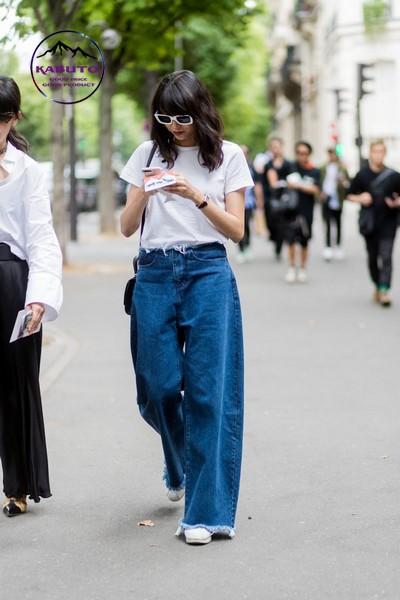 cách mix đồ với quần jean nữ ống rộng