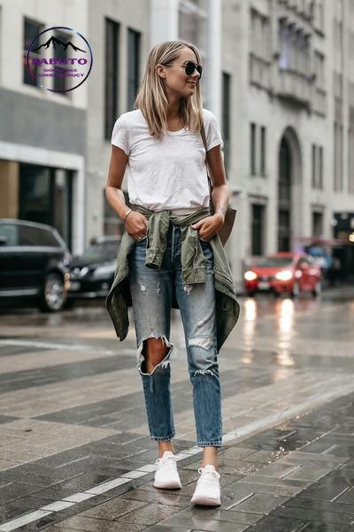 cách phối đồ nữ với quần jean rách