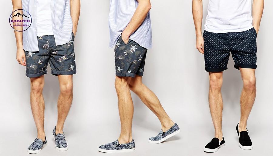 phối đồ với quần short nam họa tiết