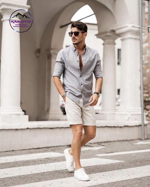 kết hợp áo sơ mi và quần short nam