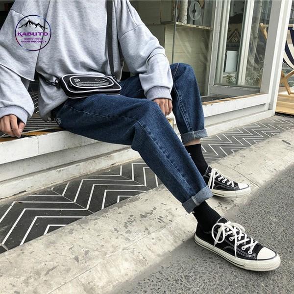 Mix áo thun tay dài nam với quần Jean