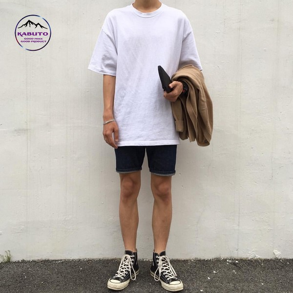 mix áo thun với quần short nam denim