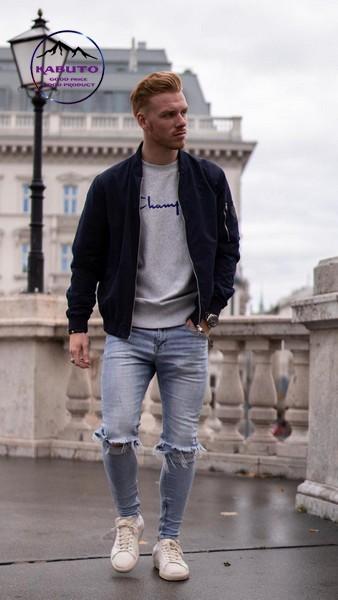 Mix quần jean nam với áo Bomber Jacket