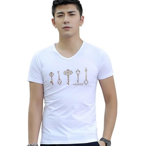 áo phông cổ chữ v màu trắng