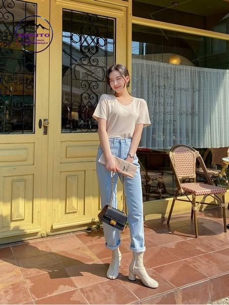 mix áo pull với jean dài