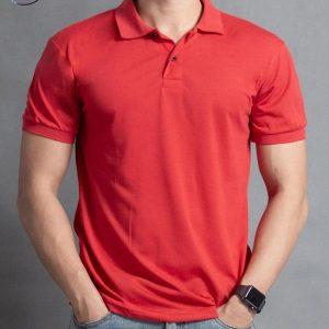áo thun cổ trụ cá sấu màu đỏ