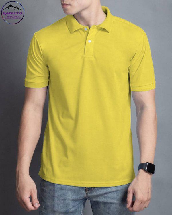 áo thun cổ trụ cá sấu màu vàng