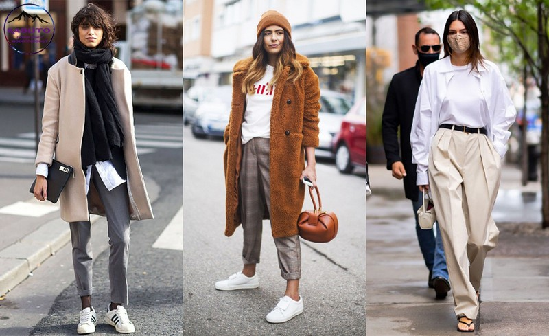 quần tây nữ mặc cùng với áo khoác cuốn hút