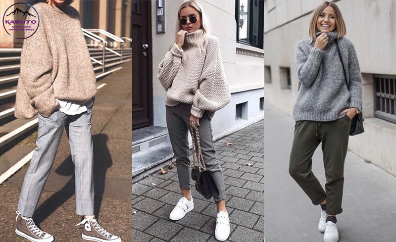 quần tây nữ và áo len ấm áp
