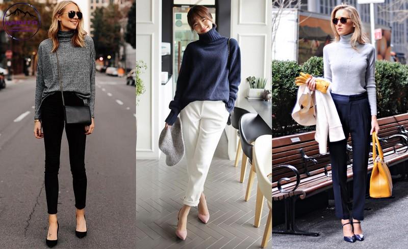 quần tây nữ và áo sweater sang trọng và thanh lịch